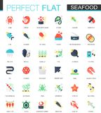 Vector set of flat Seafood icons. Royalty Free Stock Images
