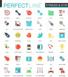 Vector set of flat Sport Fitness icons. Stock Photos