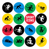 Vector set of flat sport icons isolated on colorful round backgrounds. Winter sports illustration. Human figures. Active lifestyle, season activities Royalty Free Stock Photo