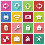 Vector Set of Flat Square Buttons with Office Stock Images