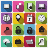 Vector Set of Flat Square Buttons with Round Royalty Free Stock Photo
