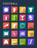 Vector Set Flat Square Icons. Vector set square flat icons and symbols on a dark background. Football sign with long shadow Royalty Free Stock Photography