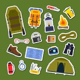 Vector set of flat style camping elements stickers. Collection cartoon illustration Royalty Free Stock Image