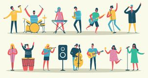 Set in a flat style of group of musicians Stock Image