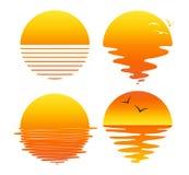 Vector set of flat symbols of sunsets and sunrises