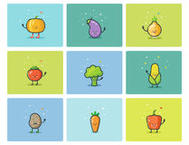 Vector set of flat Vegetable icons, cute cartoon characters Stock Photos