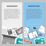 Vector set flat vertical banners architecture and development. Set vertical banners drawings objects and devices for performing architectural project Royalty Free Stock Photo