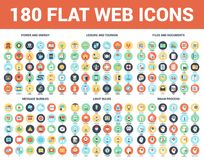 Flat Web Icons. Vector set of 180 flat web icons on following themes - files and documents, power and energy, message bubbles, leisure and tourism, light bulbs Stock Image