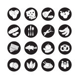 Vector set flat web icons with food. Drawn cartoon black and white foodstuffs  long shadow in round frame for internet, mobile app Royalty Free Stock Image