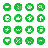 Vector set of flat web icons. Vector illustration of green icons in round frames Royalty Free Stock Image