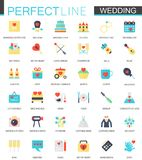 Vector set of flat Wedding icons. Stock Images