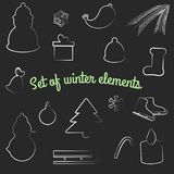 Vector set of flat winter elements. Holidays New Year and Christmas. Used for icons, postcards, leaflets, textiles royalty free illustration