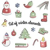 Vector set of flat winter elements. Holidays New Year and Christmas. Used for icons, postcards, leaflets, textiles vector illustration