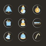 Vector set of flat winter elements. Holidays New Year and Christmas. Used for icons, postcards, leaflets, textiles stock illustration