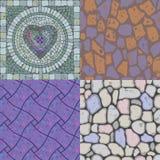 Vector set of floor stone textures. Vector set of different floor stone textures with mosaic heart Stock Photos