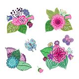 Vector set of floral arrangements in doodle style. Collection of patterns with natural elements. Flowers, leaves and butterflies Stock Photos