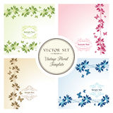 Vector set of floral backgrounds with butterflies. And ornamental frame Stock Photo