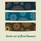 Vector set of floral banners. Vector colorful set of floral banners Stock Image