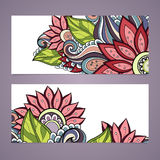 Vector Set of Floral Banners. Place for text Royalty Free Stock Photos
