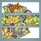 Vector Set of Floral Banners. Place for text Stock Images