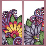 Vector Set of Floral Banners. Place for text Stock Photography