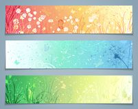 Vector set of floral banners. Three templates for your design. Dandelion, flowers, grass, butterflies in pastel colours. There are places for your text Royalty Free Stock Photo