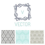 Vector set of floral border and seamless patterns. In trendy mono line style - design elements for florists, spa and cosmetics stock illustration