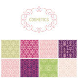 Vector set of floral border and seamless patterns Stock Photography