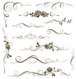 Vector set of floral calligraphic elements, dividers, ornaments with roses. Flowers silhouettes Stock Photography