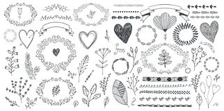 Vector set of floral decor, hand drawn doodle frames, dividers, borders, elements. Isolated.