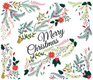 Vector Set of Floral Decorations for Christmas Royalty Free Stock Photography