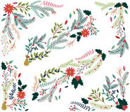 Vector Set of Floral Decorations for Christmas Stock Image