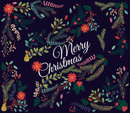 Vector Set of Floral Decorations for Christmas Royalty Free Stock Images