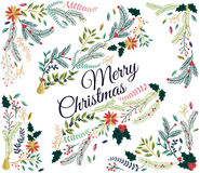 Vector Set of Floral Decorations for Christmas Royalty Free Stock Image