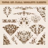 Vector set of floral decorative elements Stock Images