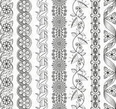 Vector set of floral elements for ethnic decor. Stock Images