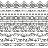 Vector set of floral elements for ethnic decor. Seamless patterns for frames  Royalty Free Stock Images