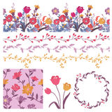 Vector set with floral elements. Stock Photos