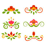 Vector set of floral fairy separators in flat. Style Royalty Free Stock Photos