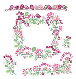 Vector set floral frame and  design elements. Royalty Free Stock Photos