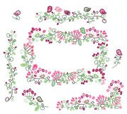 Vector set floral frame and  design elements. Stock Photography