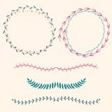 Vector set with floral frames and borders Stock Photo