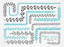 Vector set of floral hand drawn pattern brushes with outer and i. Nner corner tiles. Brushes are included in EPS Stock Image