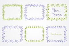 Vector set of floral hand drawn rectangular frames. Royalty Free Stock Images