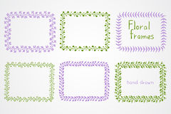 Vector set of floral hand drawn rectangular frames. Royalty Free Stock Photo