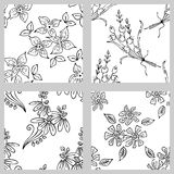 Vector set of floral illustration. Black and white seamless patterns with bouquet with flowers, leaves, decorative elements. Hand Stock Image