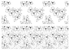 Vector set of floral illustration. Black and white seamless patterns with bouquet with flowers, leaves, decorative elements. Hand Royalty Free Stock Images