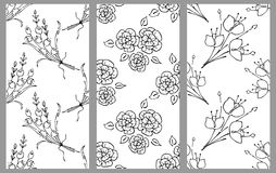 Vector set of floral illustration. Black and white seamless patterns with bouquet with flowers, leaves, decorative elements. Hand Stock Images