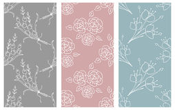 Vector set of floral illustration. Pastel seamless patterns with bouquet with flowers, leaves, decorative elements. Hand drawn con royalty free illustration