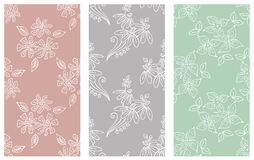 Vector set of floral illustration. Pastel seamless patterns with bouquet with flowers, leaves, decorative elements. Hand drawn con Royalty Free Stock Photo